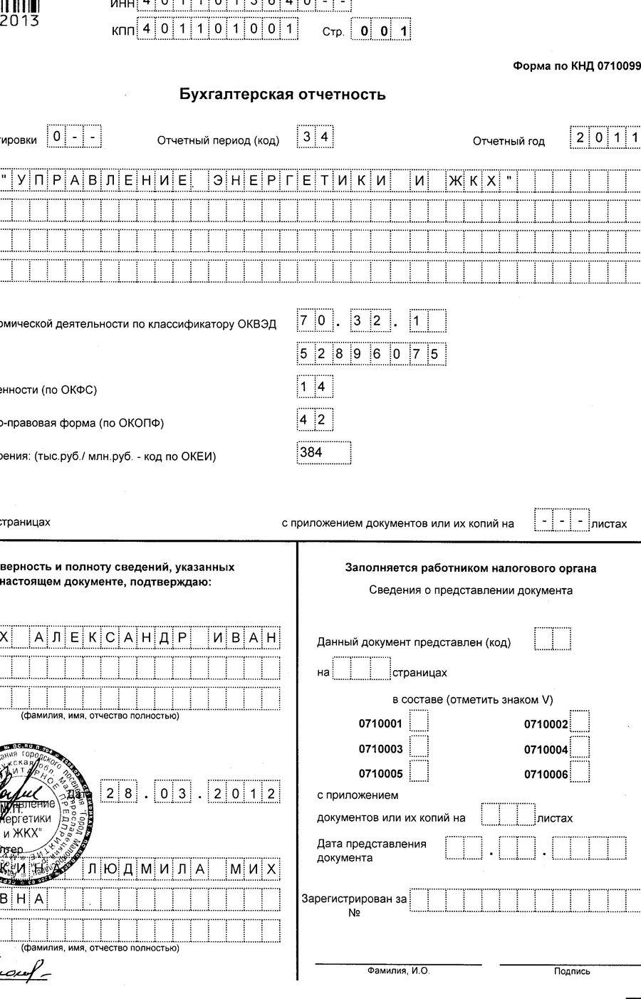 бланк баланса для некоммерческой организации кдн 0710099